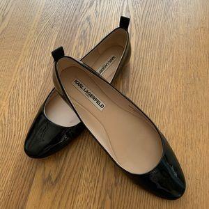 Karl Lagerfeld Patent Leather Flats. Black. Size 8